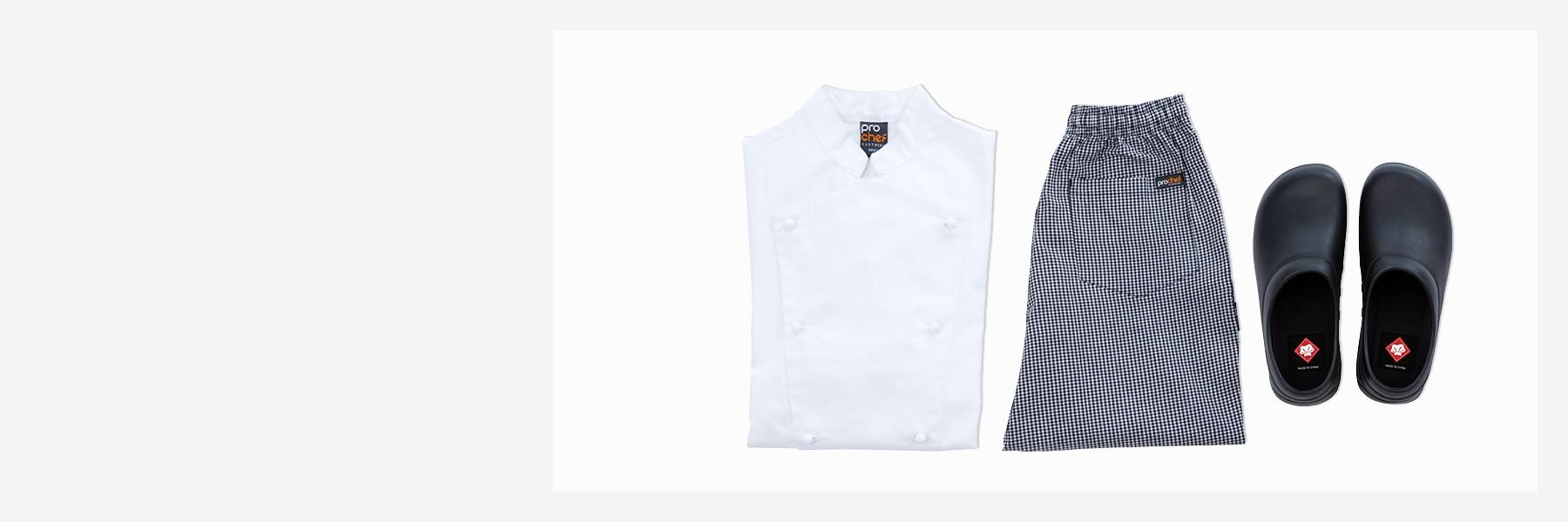 Chef Jacket, Pants, Clogs