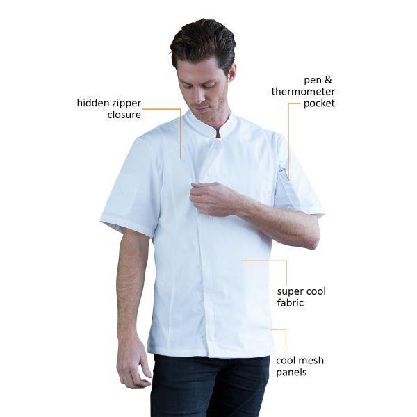 Alex Zipper Chef Jacket White