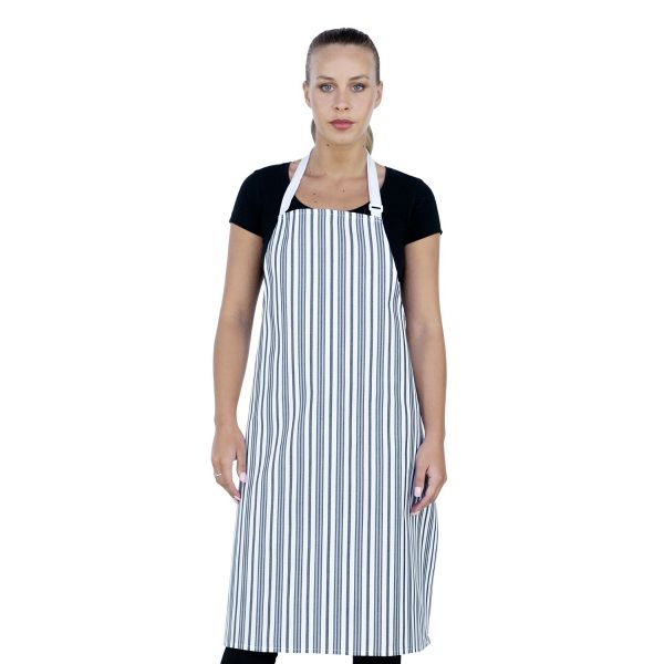 Chef Bib Woven White/Grey