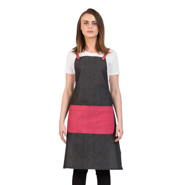 Grey Combo Bib Apron Cherry