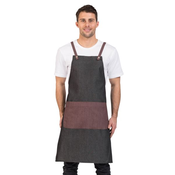 Grey Combo Bib Apron Wine
