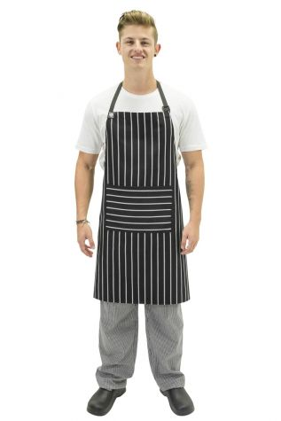 Chef Bib With Pocket Black/White
