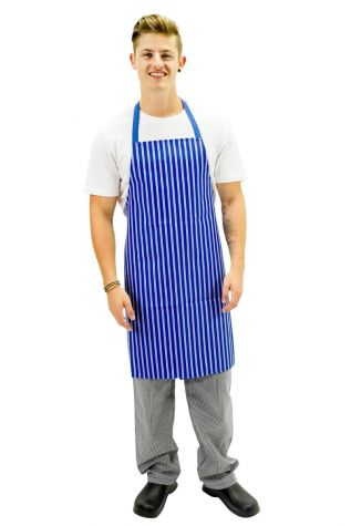 Nylon Bib Apron Blue/White