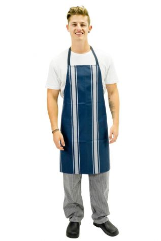 Nylon Bib Apron Navy Butchers Stripe