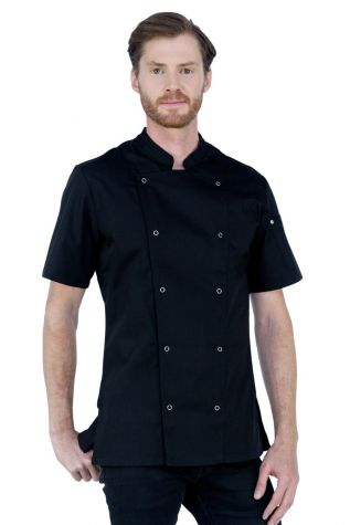 Alex Press Stud Chef Jacket Black