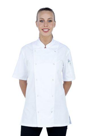 Alex Press Stud Chef Jacket White