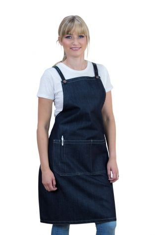 Archie Denim Bib Apron Black