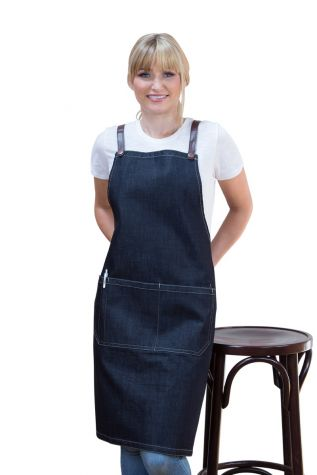 Archie Denim Bib Apron Brown