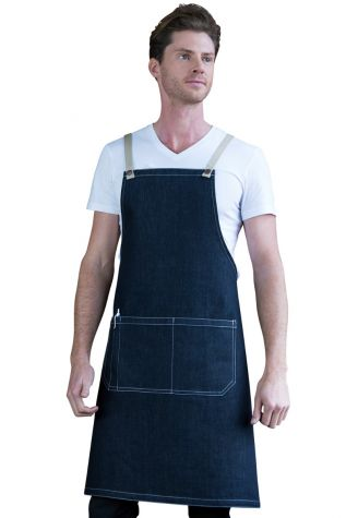 Archie Denim Bib Apron Coffee Brown