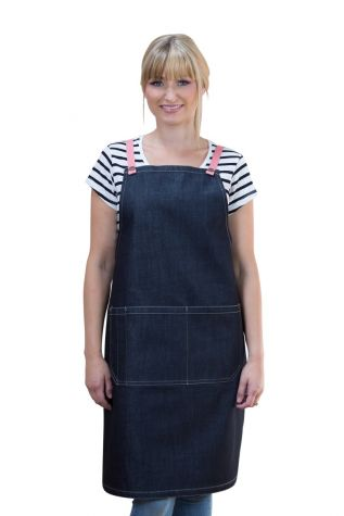 Archie Denim Bib Apron Grapefruit Pink