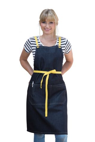 Archie Denim Bib Apron Lemon Yellow
