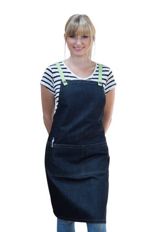 Archie Denim Bib Apron Lime Green