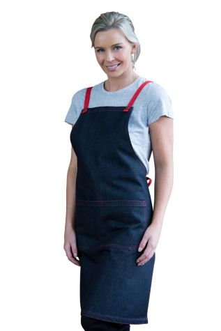Archie Denim Bib Apron Red