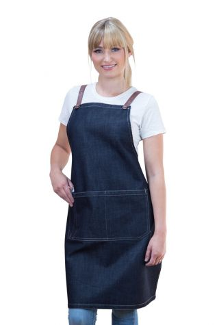 Archie Denim Bib Apron Tan Brown