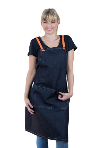Archie Denim Bib Apron Orange