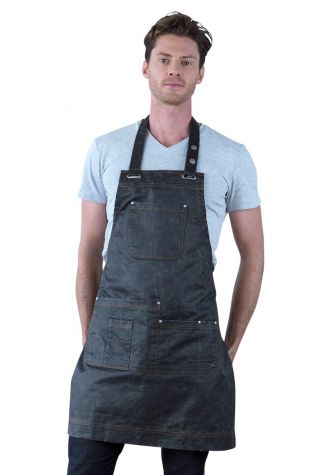 Barber Bib Apron Pewter Grey