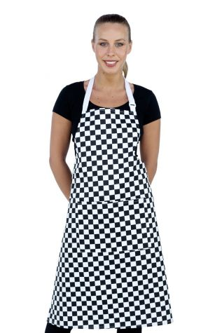 Chef Bib Apron Printed Black/White Check