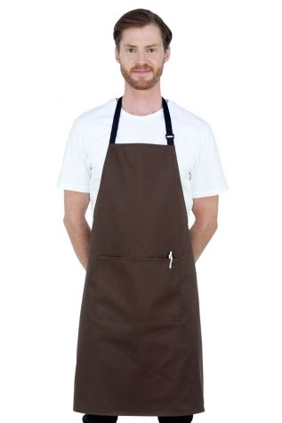 Chef Bib W/Pkt Apron Brown