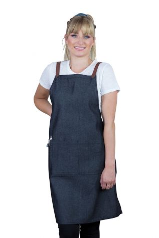 Bella Bib Apron Charcoal Grey-Tan