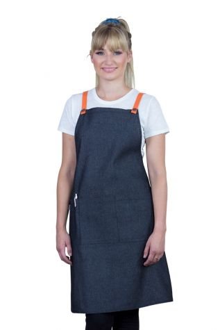 Bella Bib Apron Charcoal Grey-Orange