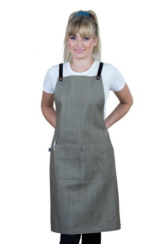 Bella Bib Apron Latte Brown - Black
