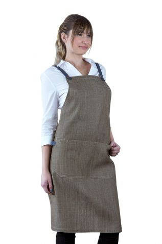 Bella Bib Apron Latte Brown-Blue