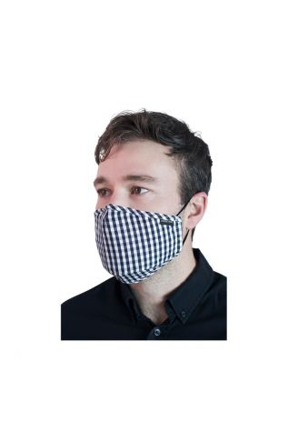 Reusable Cloth Face Mask Navy/White Check with FREE PM2.5 Filter
