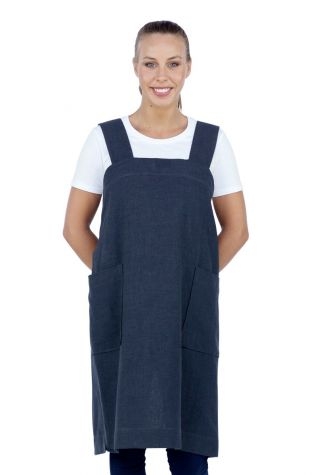 Hanna Pinafore Apron Navy Blue