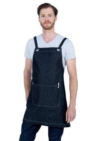 Mia Denim Crossback Bib Apron Black