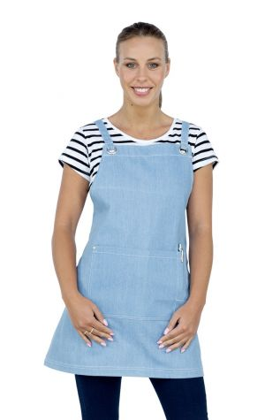 Mia Denim Crossback Bib Apron Chambray Blue