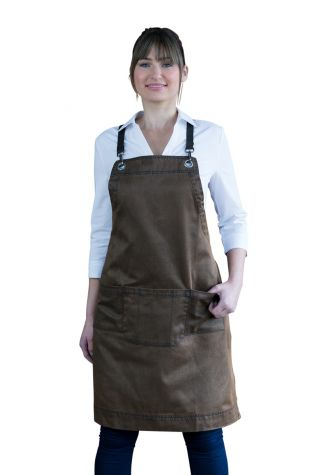 Outback Bib Apron Ochre Brown